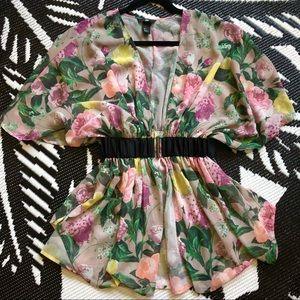 Sheer Floral Swim Coverup